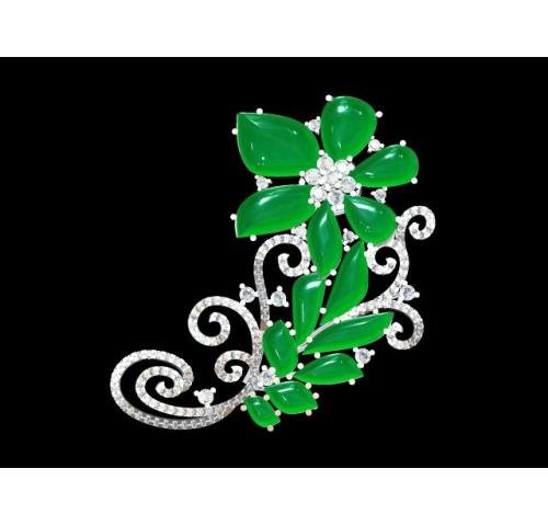 翡翠玉石胸针 (4)